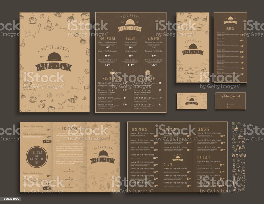 set of a4 menu folding brochures and flyers narrow for a restaurant