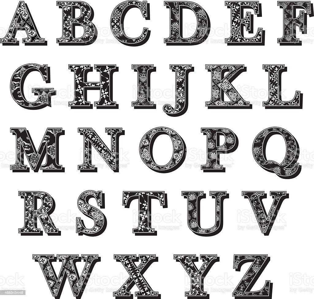 Ensemble dabc antiqua des lettres de lalphabet avec motif stock vecteur libres de droits - K en majuscule ...