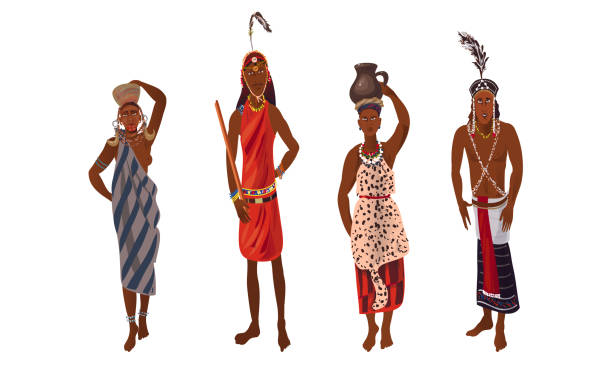 Set of aboriginal women and men from Africa in traditional ethnic dress. Vector illustration in flat cartoon style. Collection set of aboriginal women and men from Africa in traditional ethnic dress. Traditional ethnic clothes concept. Isolated icons set illustration on a white background in cartoon style. human head stock illustrations
