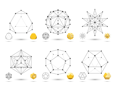 Set of abstract 3D geometric shapes from triangular faces for graphic design. Frames volumetric gold form with edges and vertices. Geometry scientific concept isolated on white background.