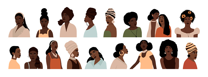 Set of abstract african american woman portraits isolated on white background