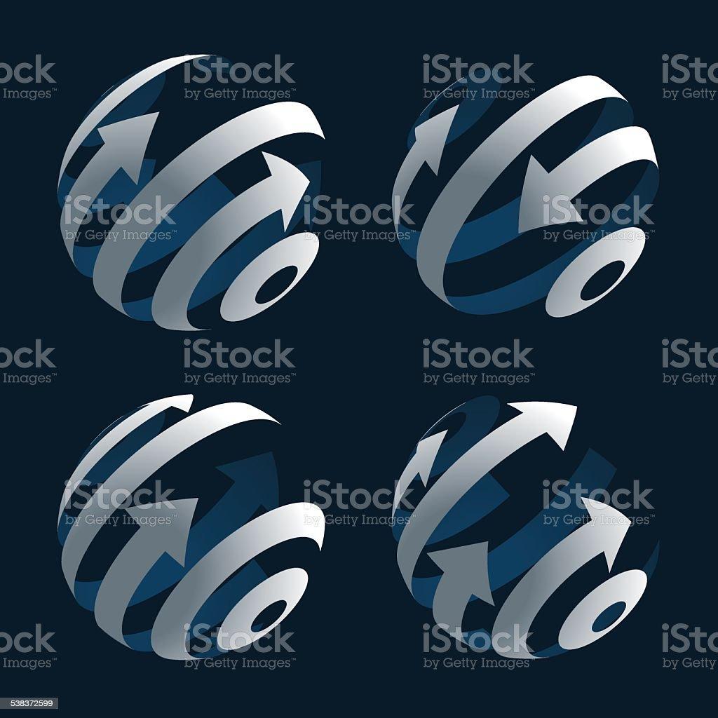 Set of Abstract Arrow Globes. Stock Vector Illustration vector art illustration