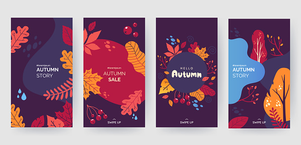 Set of abstract autumn backgrounds for social media stories. Colorful banners with autumn fallen leaves and yellowed foliage. Use for event invitation, discount voucher, advertising. Vector eps 10