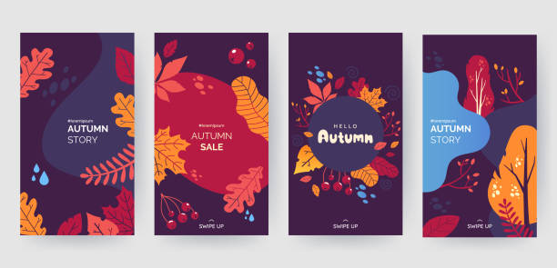 Set of abstract autumn backgrounds for social media stories. Colorful banners with autumn fallen leaves and yellowed foliage. Use for event invitation, discount voucher, advertising. Vector eps 10 Set of abstract autumn backgrounds for social media stories. Colorful banners with autumn fallen leaves and yellowed foliage. Use for event invitation, discount voucher, advertising. Vector eps 10 fall background stock illustrations