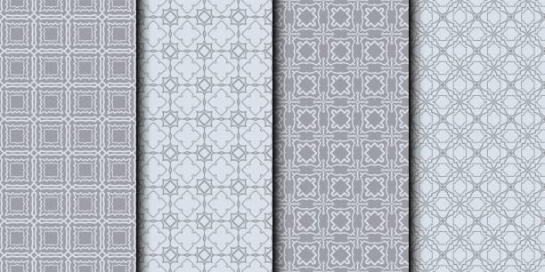 reihe von abstrakten hintergrundtextur in geometrischen ornamentalen stil. vektor-illustration. nahtlose. farbe grau - rankgitter stock-grafiken, -clipart, -cartoons und -symbole
