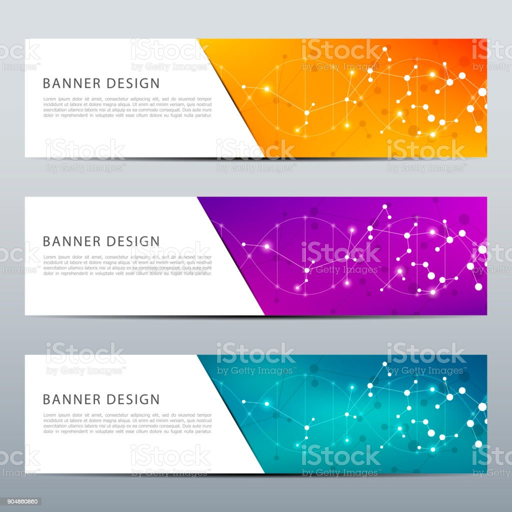 Set of abstract banner design, dna molecule structure background. Geometric graphics and connected lines with dots. Scientific and technological concept, vector illustration vector art illustration