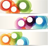 Set of abstract banners with colorful circles