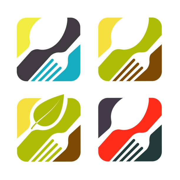 illustrations, cliparts, dessins animés et icônes de ensemble de logo noir abstraite pour un restaurant, la cuisine ou le café. adapté pour l'impression sur les menus. de forme carrée. - logos restauration