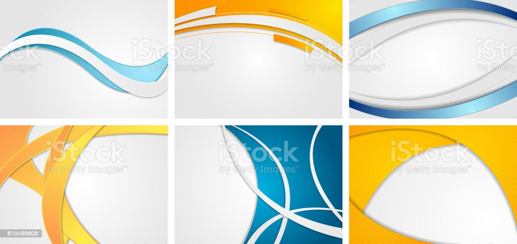 Set of abstract blue and orange wavy backgrounds vector art illustration