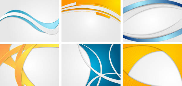 Set of abstract blue and orange wavy backgrounds Set of abstract blue and orange wavy backgrounds. Corporate vector design bending stock illustrations