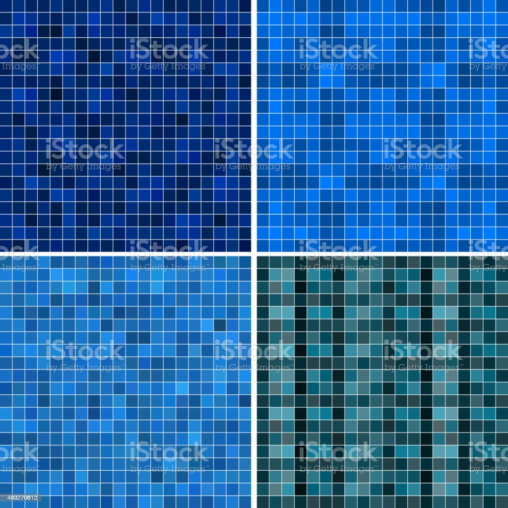 set of abstract blue check pattern background vector art illustration