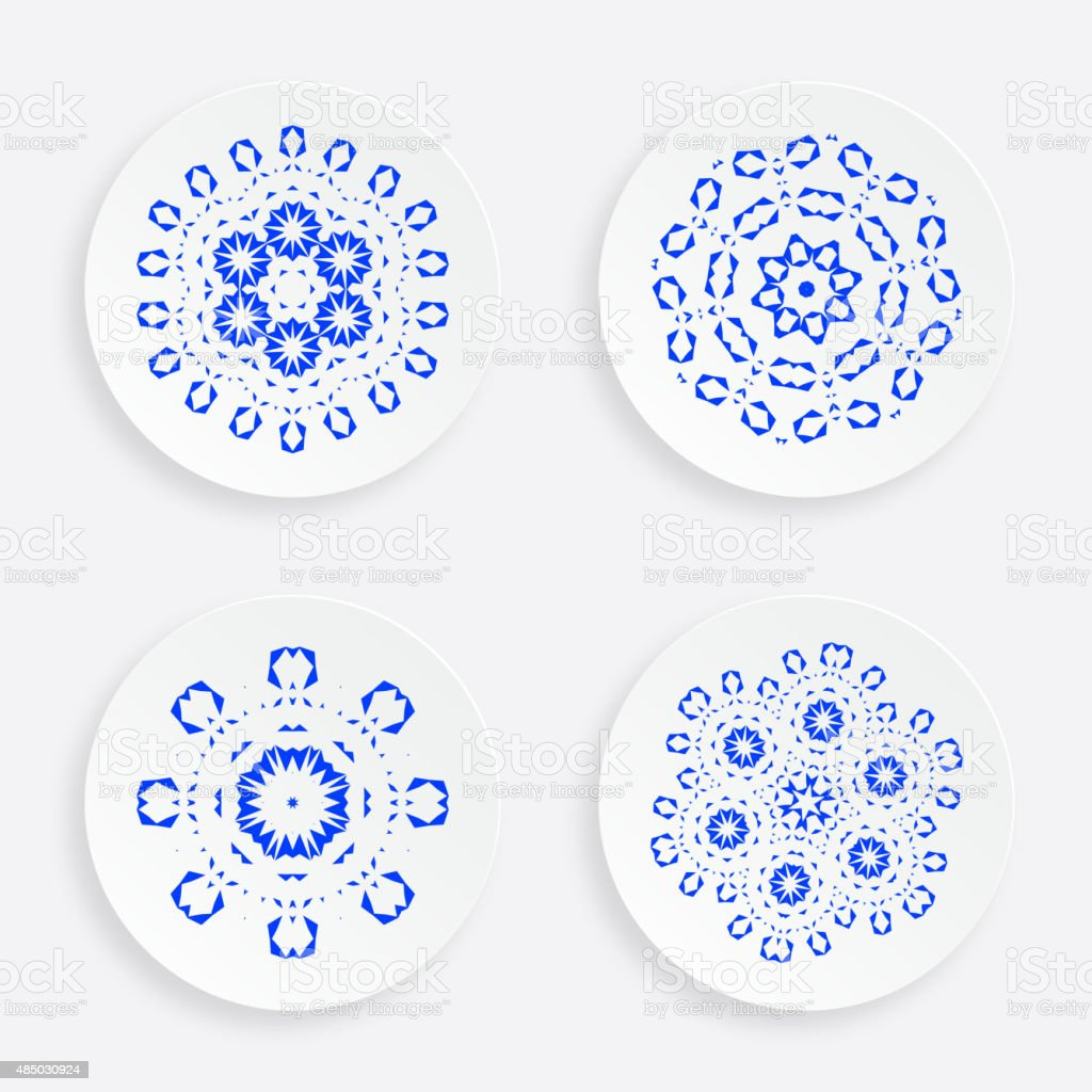 set of abstract blue plate pattern for design vector art illustration