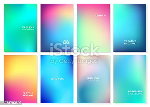 istock Set of Abstract Blur Defocused Colorful Background. Abstract design template for brochures, flyers, magazine, business card, branding, banners, headers, book covers, notebooks background vector 1278790629