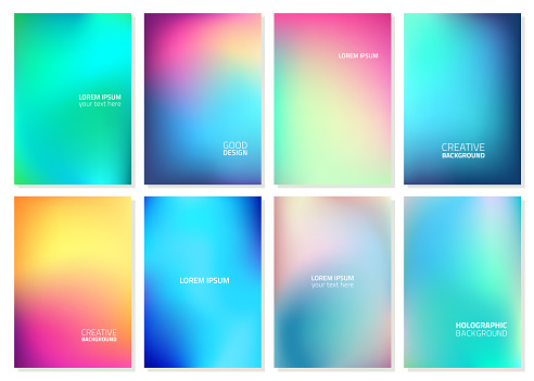 Set of Abstract Blur Defocused Colorful Background. Abstract design template for brochures, flyers, magazine, business card, branding, banners, headers, book covers, notebooks background vector