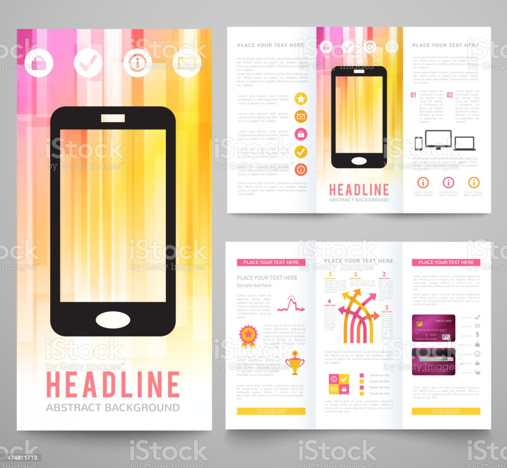 Set of abstract bright background for flyer, brochure template vector art illustration