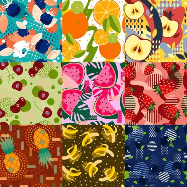 ilustrações, clipart, desenhos animados e ícones de conjunto de padrões de frutas brilhantes abstratas. - fruit salad