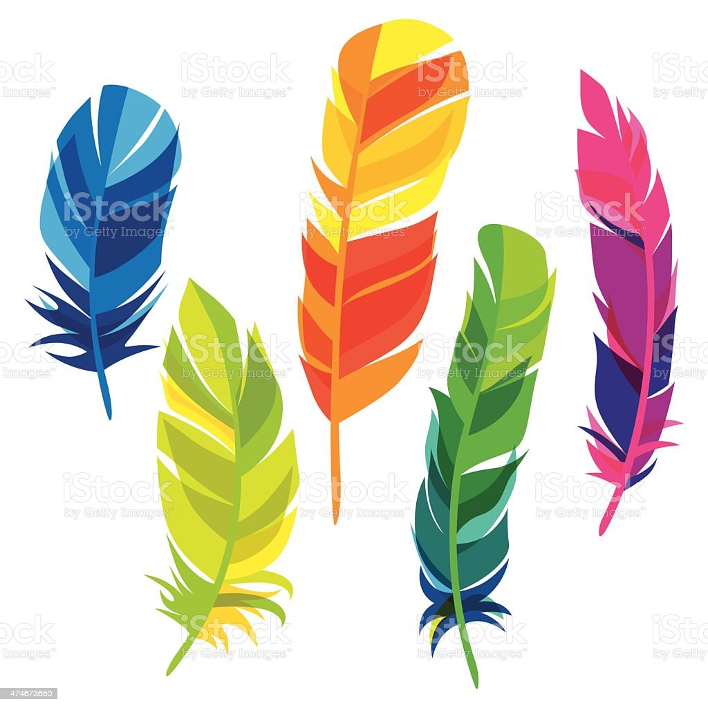 Set of abstract bright transparent feathers on white background vector art illustration