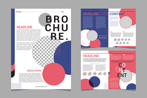 Set of abstract brochure concept. Geometric shapes and gray background.