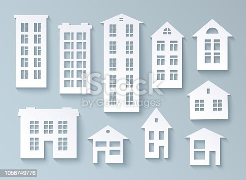 Set of abstract buildings made of paper White isolated objects for design in paper cut style. Vector illustration eps10