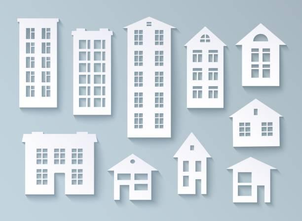 illustrazioni stock, clip art, cartoni animati e icone di tendenza di insieme di edifici astratti in carta - appartamento