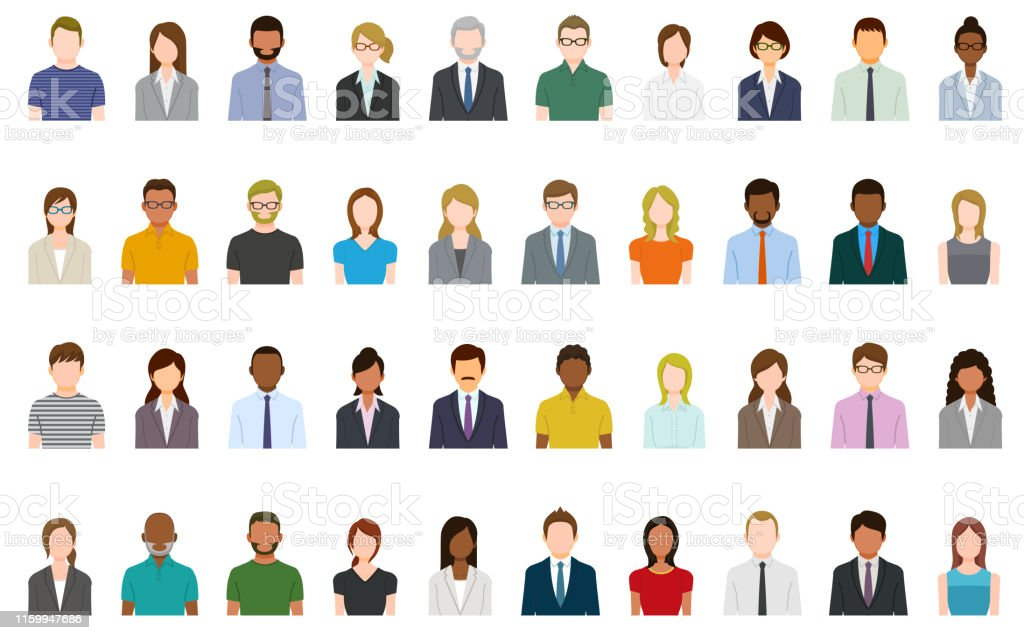 Set of abstract business people avatars 40 People avatars. Abstract stock vector