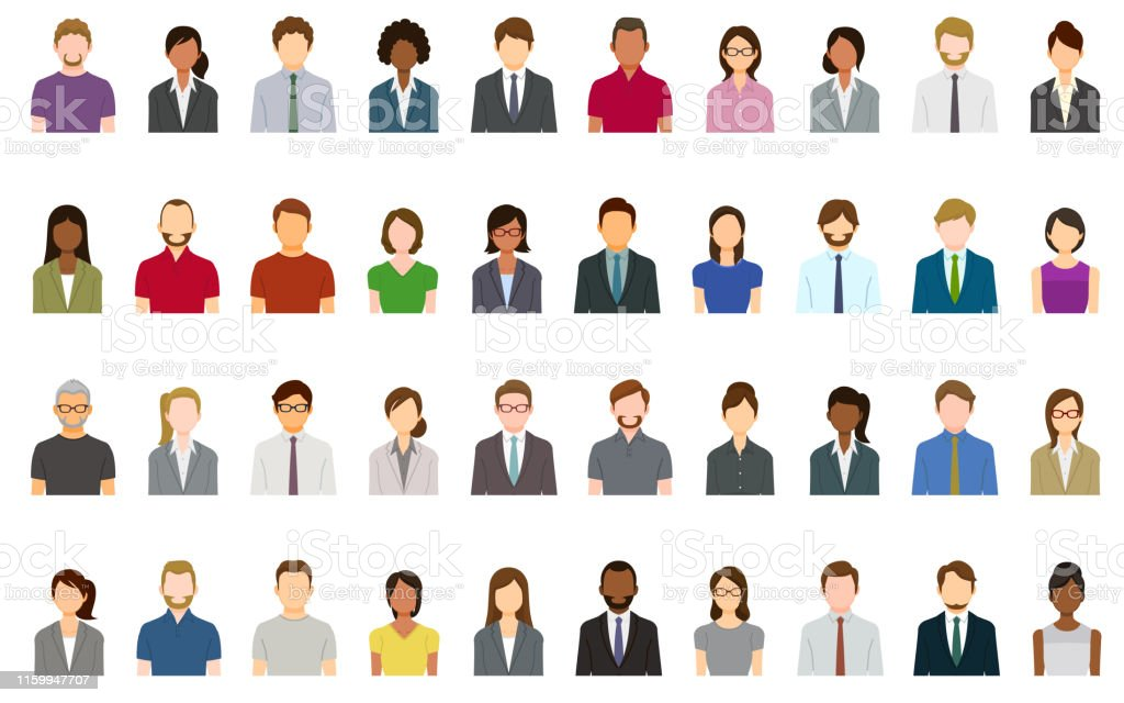 Set of abstract business people avatars - Royalty-free Abstrato arte vetorial