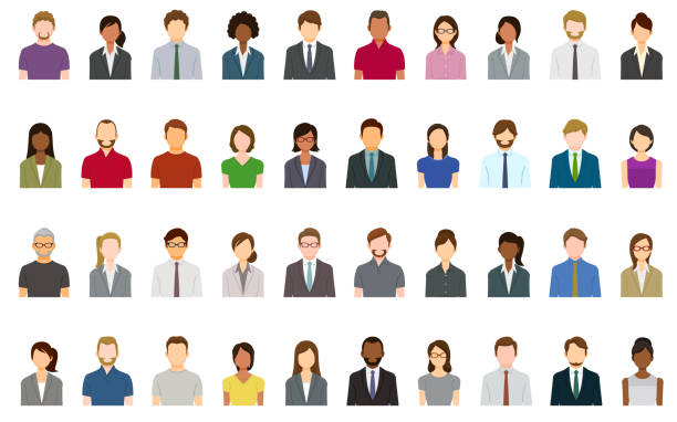 set of abstract business people avatars - zawód stock illustrations