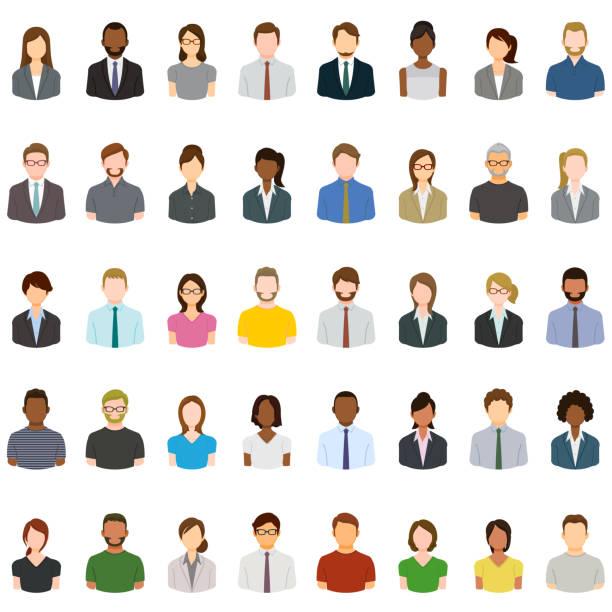Set of abstract business people avatars vector art illustration