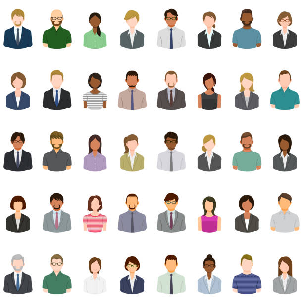 Set of abstract business people avatars vector art illustration