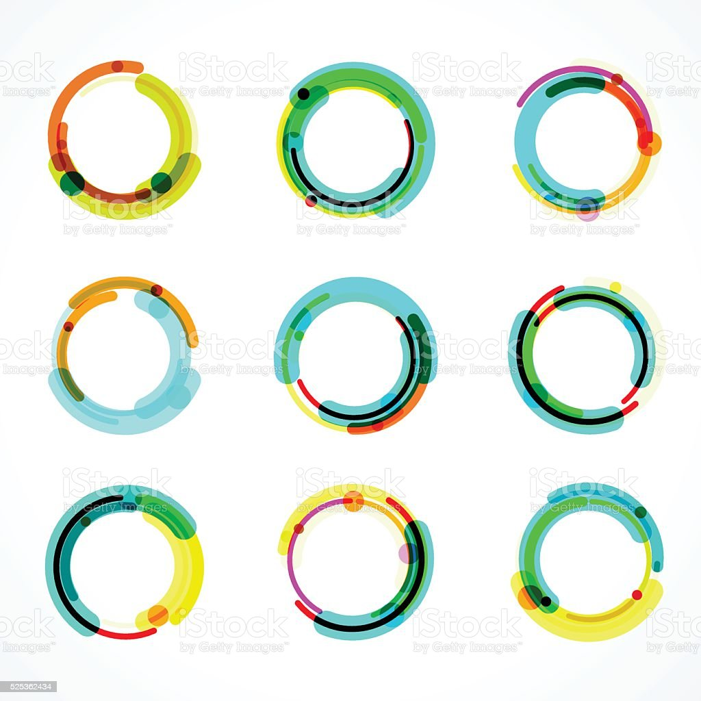 set of abstract color circle icon vector art illustration