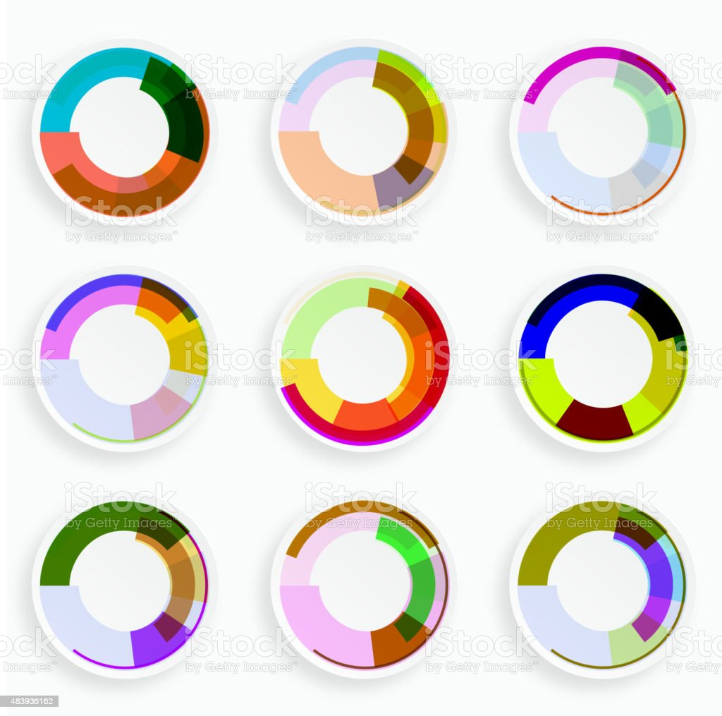 set of abstract color plate pattern for design vector art illustration