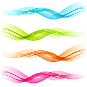 Vector Set of Abstract color transparent curved lines