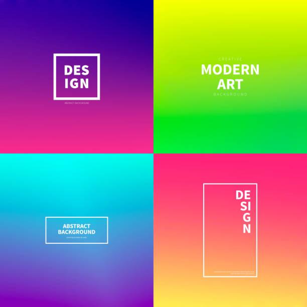 Ensemble de motifs abstraits colorés de gradients - fond branché - Illustration vectorielle
