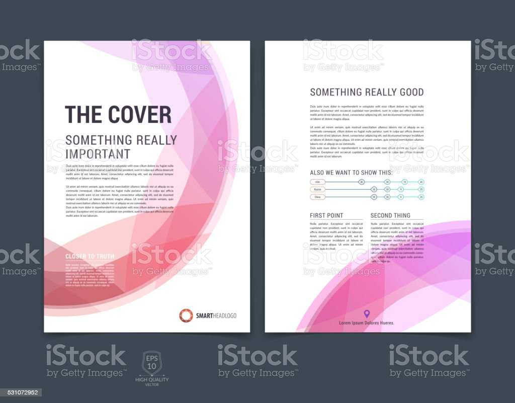 Set of abstract red and colorful layout brochure, magazine, flyer...