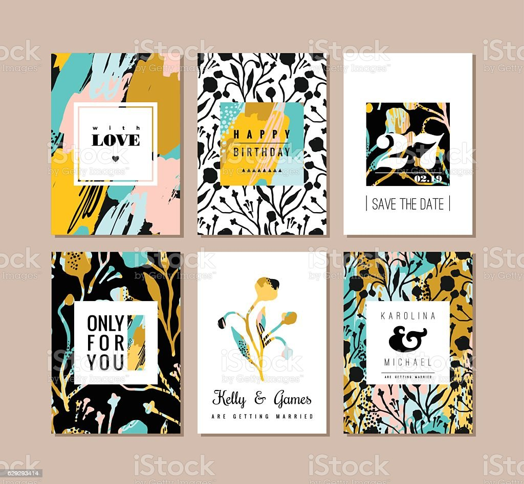 Set of abstract creative cards. Hand drawn art texture and vector art illustration