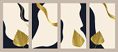 Set of abstract Creative cover design for Instagram story template, Social media posts, Stories and photos. Collection backgrounds with luxury gold color Tropical palm leaf. Vector illustration.