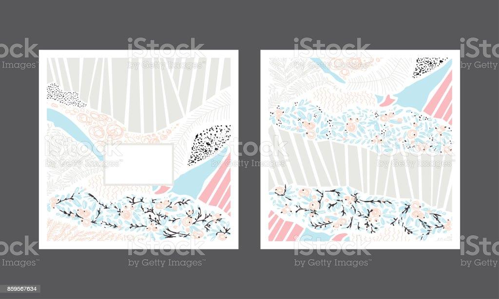 Set of abstract creative handmade greeting cards. Vector illustration. vector art illustration