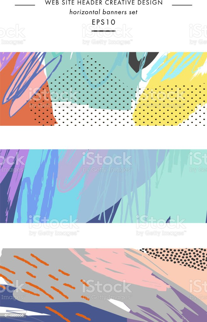 Set of Abstract creative headers. Modern artistic background. vector art illustration