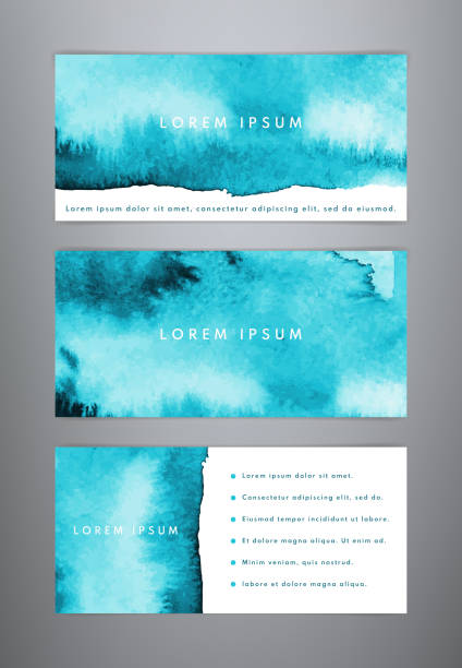 Set of abstract creative watercolor banners Set of abstract creative watercolor banners. Sea watercolor backgrounds. Templates for banner, flyer, brochure, list, ad, cover blue borders stock illustrations