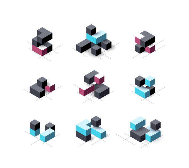 Set of abstract cubical vector design elements. Set of abstract cubical vector design elements. cube shape stock illustrations