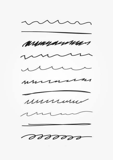 Set of abstract curved lines. Doodle, sketch, scribble. Underline drawn by hand. Set of abstract curved lines. Doodle, sketch, scribble. Underline drawn by hand. Vector illustration. single line stock illustrations