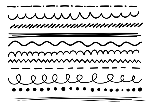 Set of abstract curved scribble lines.