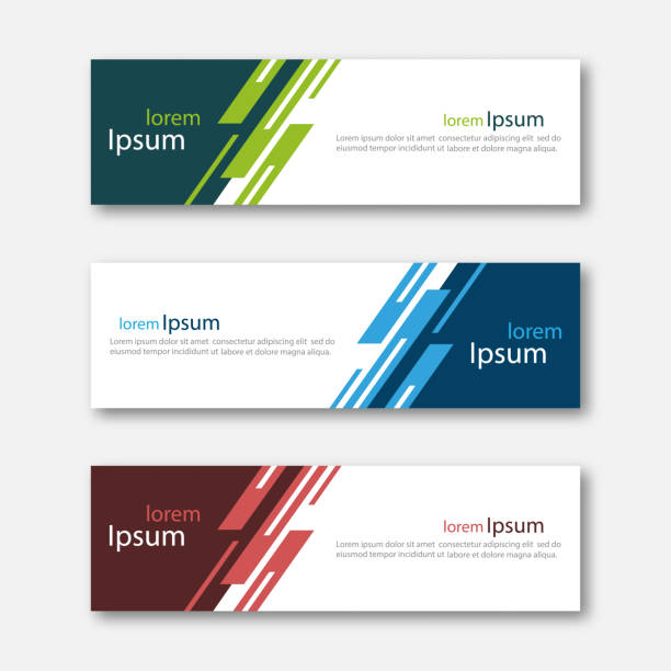 set of abstract design banner template. - blue drawings stock illustrations