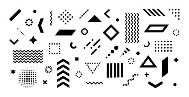 satz abstrakter designelemente - designelement stock-grafiken, -clipart, -cartoons und -symbole