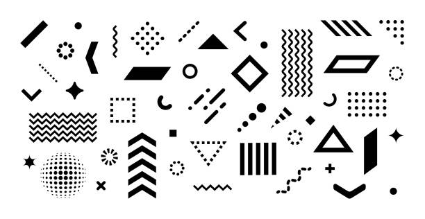 Set of abstract design elements Big set of abstract vector geometric shapes and trendy design elements for illustrations on white background. Editable stroke. Use for web, sites, print, mobile apps design element stock illustrations