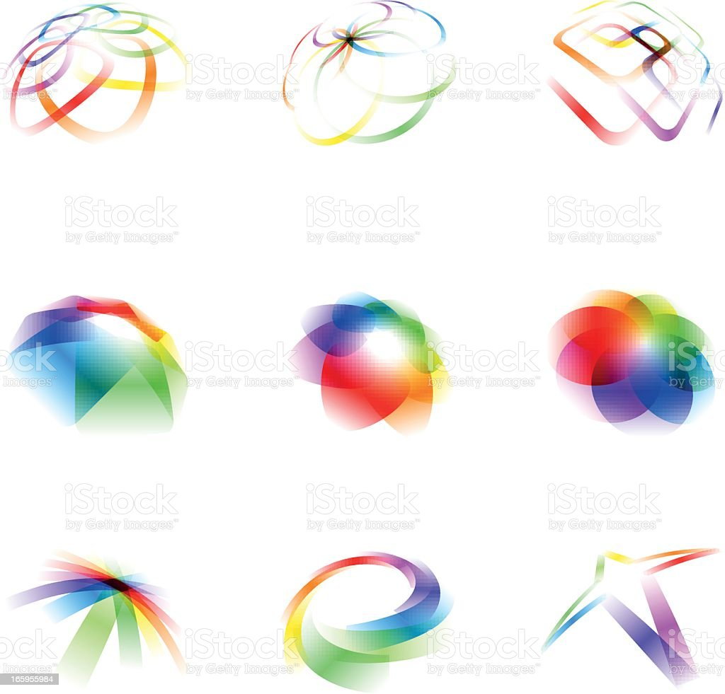 Set of abstract design elements vol 68 | Colorful royalty-free stock vector art
