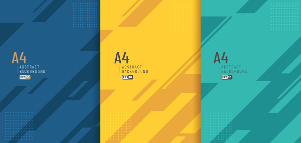 Set of abstract diagonal geometric blue yellow green color background and lines texture with copy space. Modern and minimal style. You can use for template, poster, banner web, print. Vector EPS10