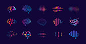 Set of abstract dots and lines brain logotypes concept. Logo for science innovation, machine learning, ai, medical research, new technology development, human brain health, it startup