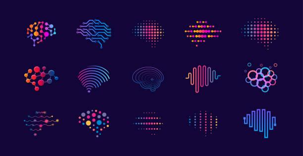 ilustraciones, imágenes clip art, dibujos animados e iconos de stock de conjunto de puntos abstractos y líneas concepto de logotipos cerebrales. logotipo para la innovación científica, aprendizaje automático, ai, investigación médica, desarrollo de nuevas tecnologías, salud del cerebro humano, startup. - inteligencia artificial