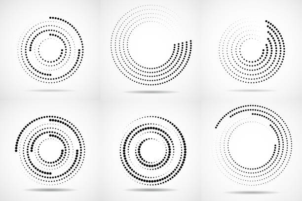 set of abstract dotted circles - спираль stock illustrations